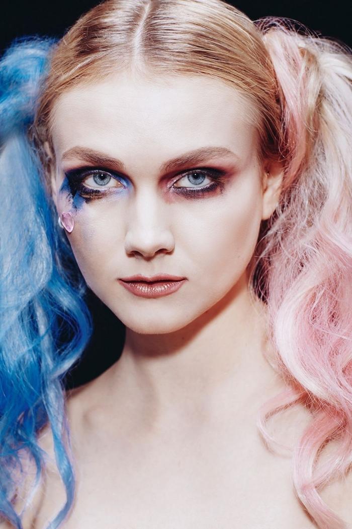 un adorable maquillage de harley quinn de couleurs pastel combiné avec une perruque double queue de cheval