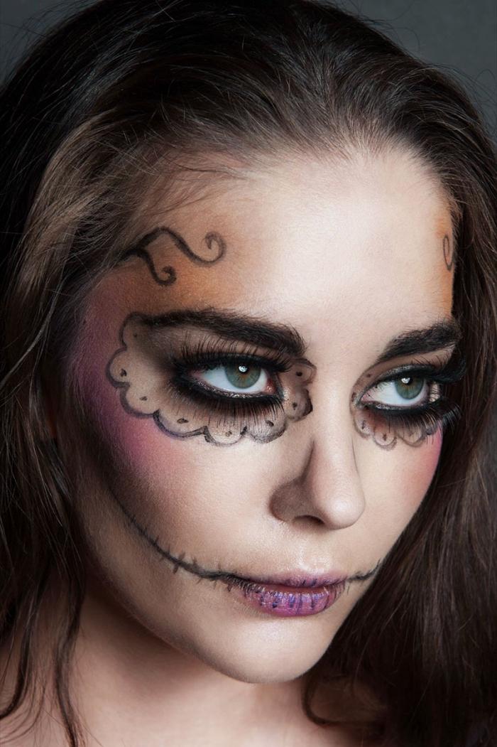 les bases d'un maquillage de poupée cadavérique mexicaine, maquillage tête de mort coloré