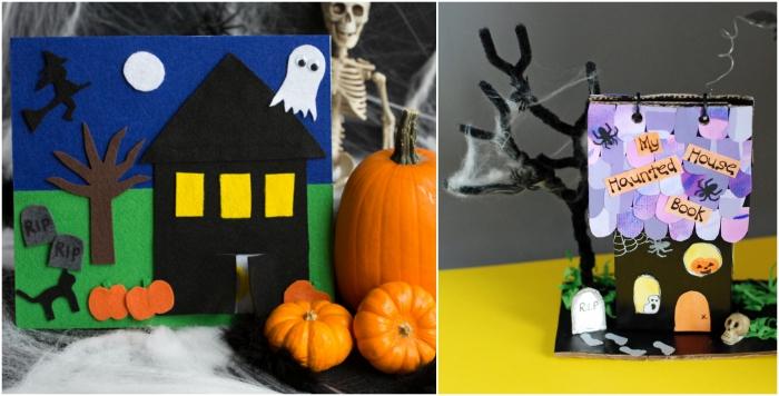 deux modèles de maison hantée d'halloween en feutrine ou en papier, activité manuelle facile et rapide pour réaliser une déco d'halloween originale ensemble avec les enfants