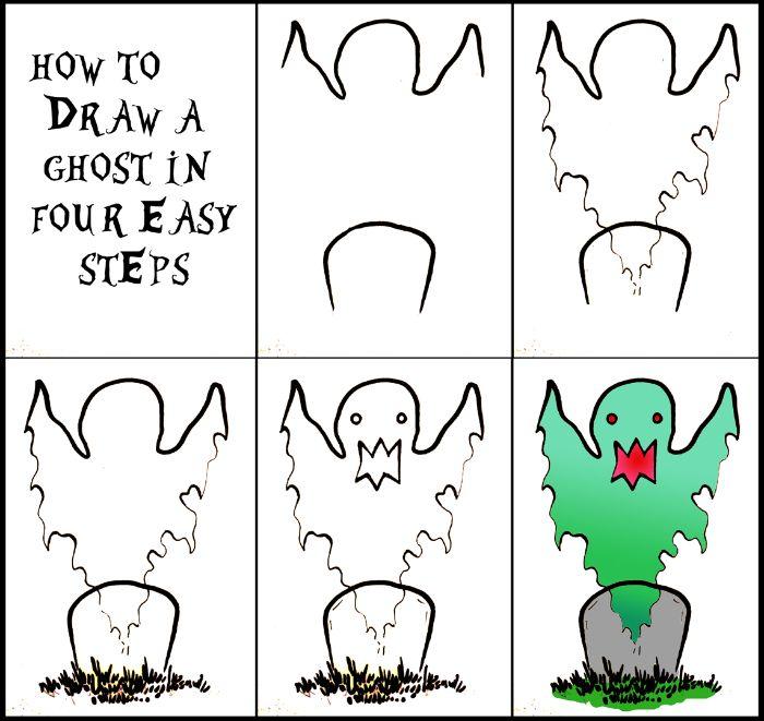 idee comment esquisser un dessin fantome halloween réussi avec tombeau, exemple dessin couelur simple a dessiner soi meme