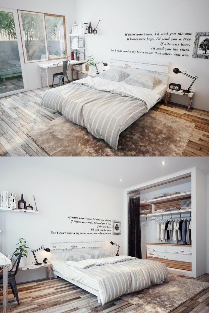 image cocooning, lit gris pâle, sol en bois, script mural, petits bureau blanc et chaise tolix