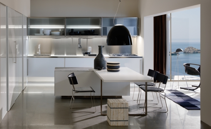 magnifique idée pour une déco de cuisine tendance contemporaine en couleurs neutres avec éclairage meuble