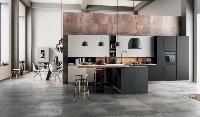 idée comment décorer une cuisine ouverte avec ilot en style moderne, exemple de cuisine stylée avec meubles en gris clair et anthracite
