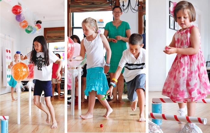 course à obstacles avec ballons et autres, anniversaire 6 ans avec un élément compétitif pour votre gouter d anniversaire
