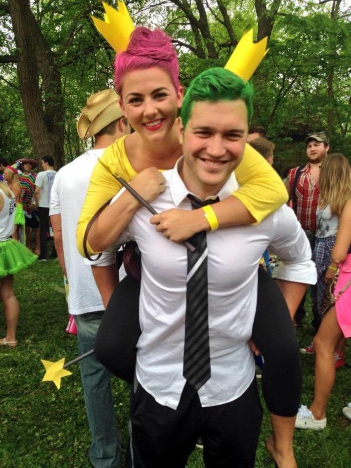 Cosmo et Wanda, maquillage et déguisement carnaval pas cher, cheveux peint en couleurs, chemise blanche, robe jaune,