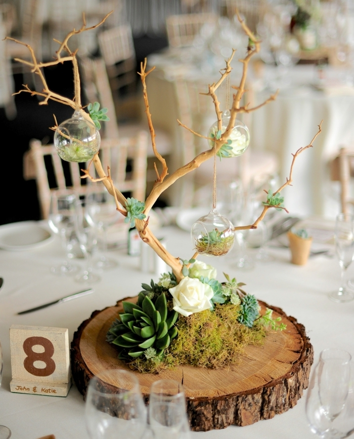 rondin de bois centre de table, succulents et arbre décoratif, petits terrariums aux branches