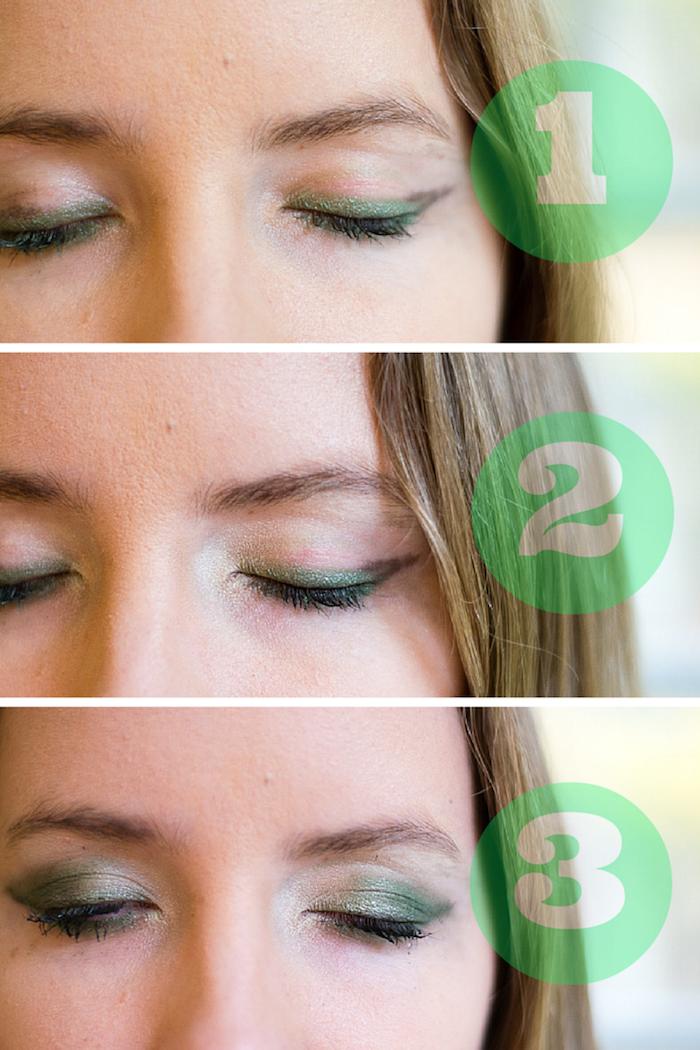 comment se maquiller les yeux avec fard à paupière vert et contour noir, idée pour un maquillage de sorcière halloween réussi