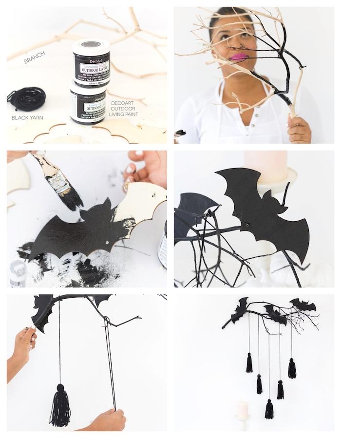 tutoriel pour fabriquer une deco halloween fait maison, mobile branche en chauve souris bois repeint de noir, pompons à franges noirs sur une branche repeint de peinture noire