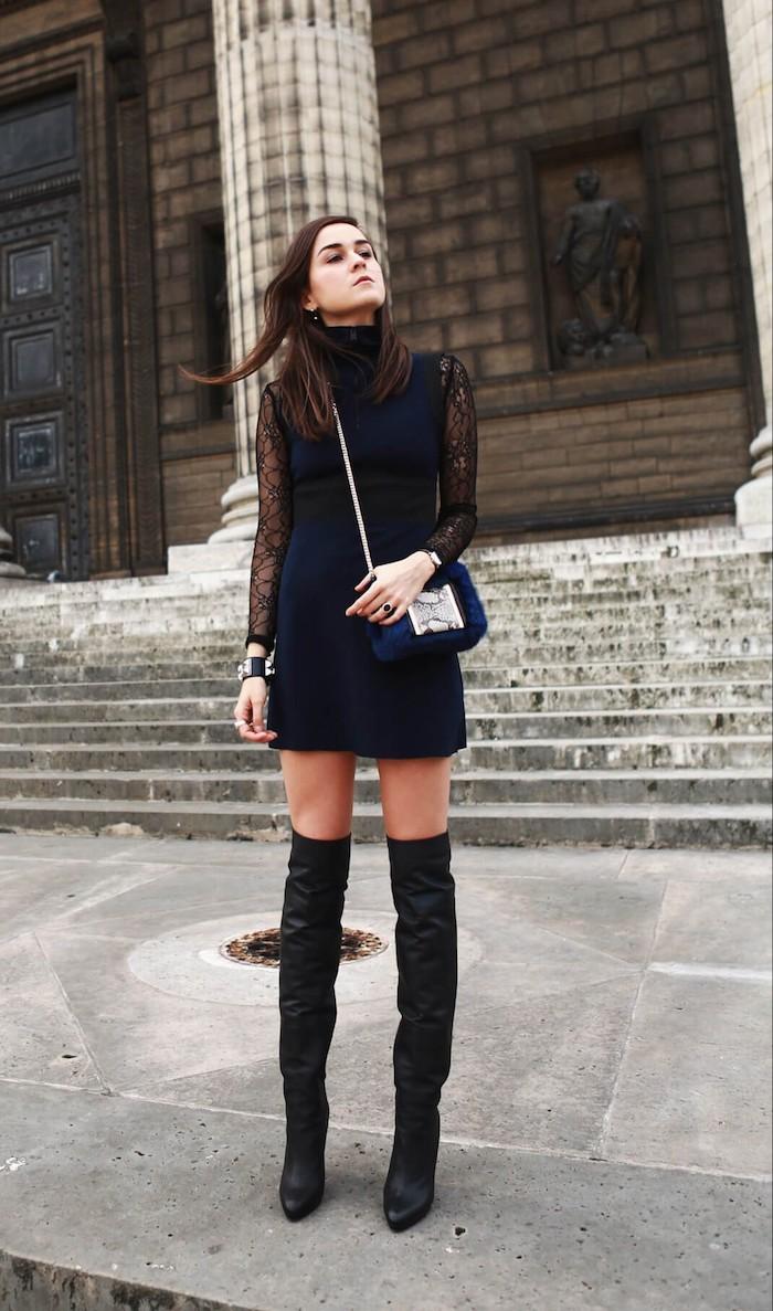 Tenue avec cuissarde, comment porter des cuissardes avec petite robe noire à manches dentelle, chouette idée tenue