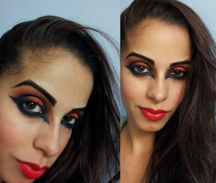 maquillage halloween facile pour un look de diablesse sexy et glamour, regard charbonneux et intense en rouge et noir