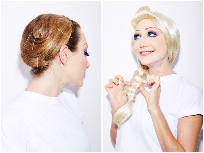 déguisement d'elsa, la reine des neiges et son maquillage doux en bleu et violet , maquillage halloween facile