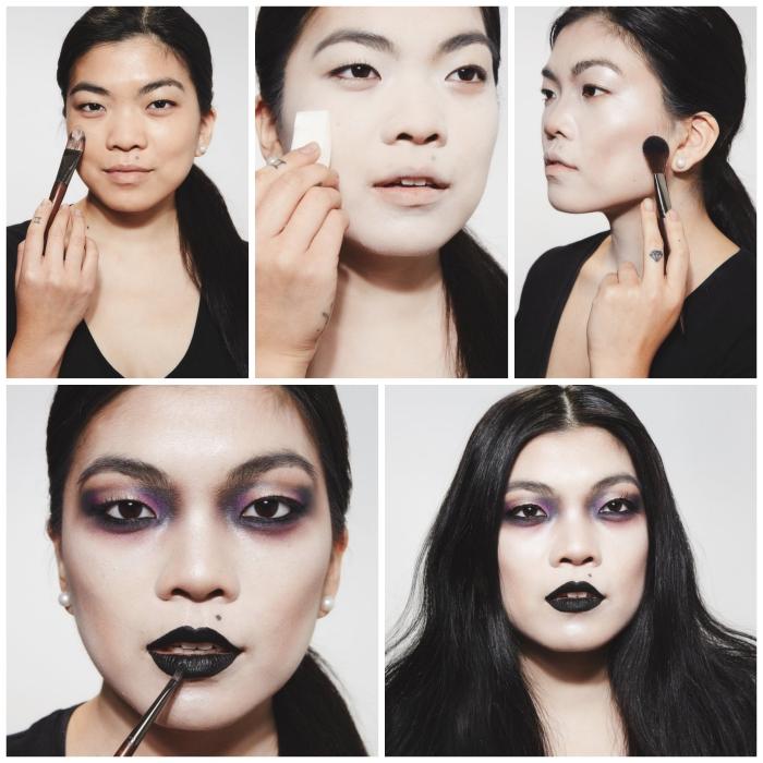 idée pour un maquillage vampire fille de dernière minute, look de vampire au teint de porcelaine, bouche noire parfaite et yeux charbonneux noir et violet