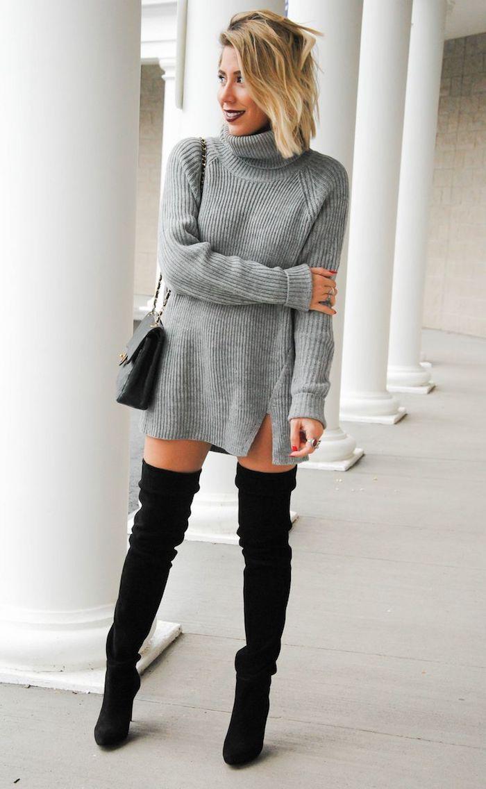 Look cuissarde 2018, comment porter des cuissardes tendance, comment s habiller en automne chic, robe pull gris, accessoires noirs
