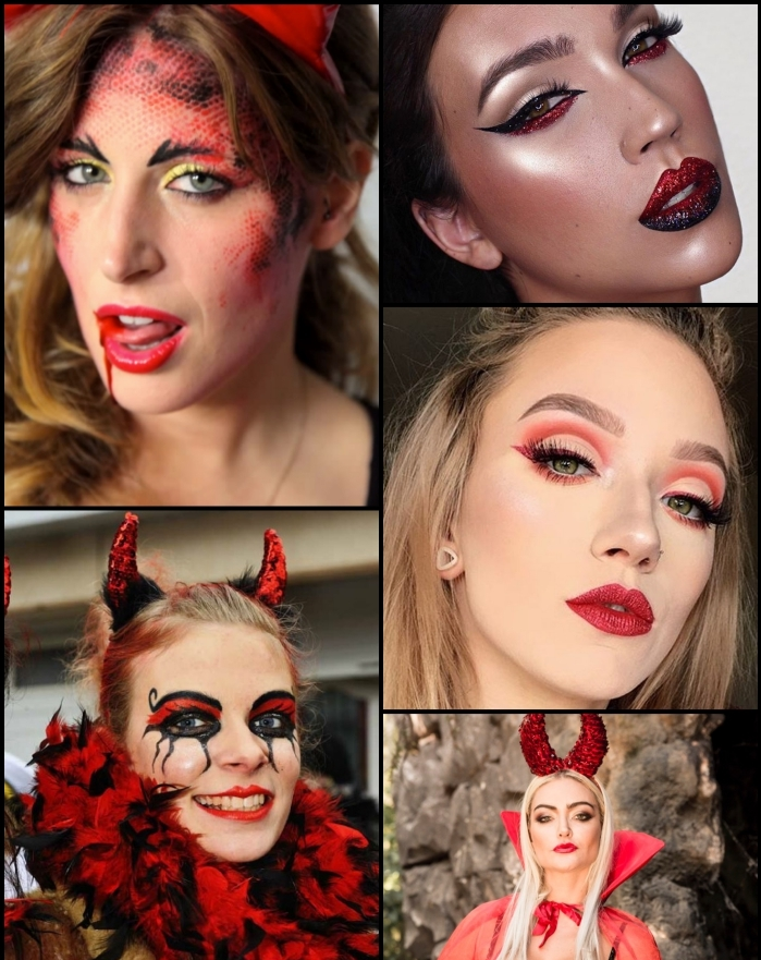 idées de looks et de maquillage diablesse glamour pour une soirée d'halloween inoubliable