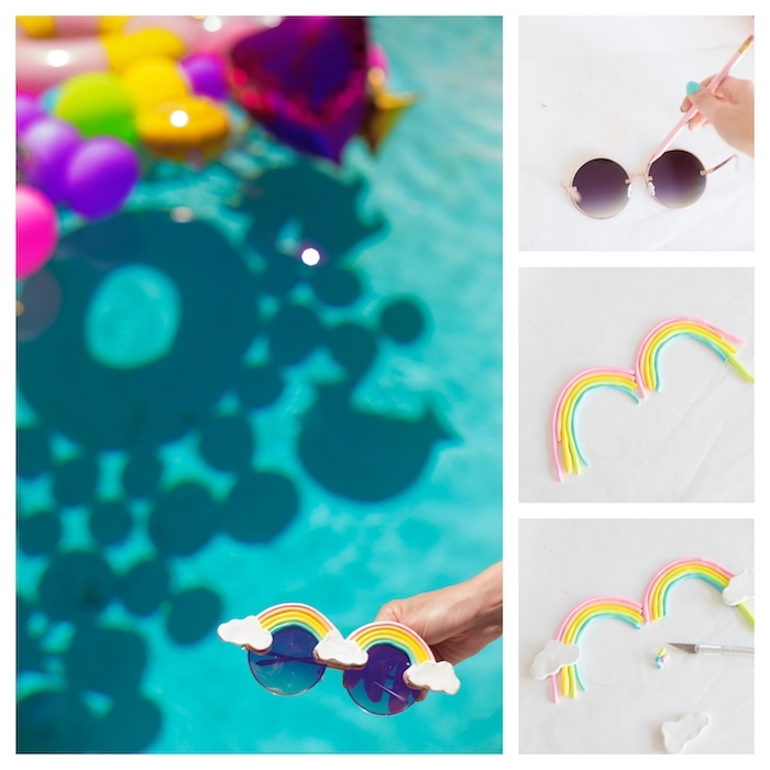 Décoration anniversaire 18 ans a faire soi meme, decoration anniversaire fille, faire des lunettes de soleil personnalisés pour les invités piscine party