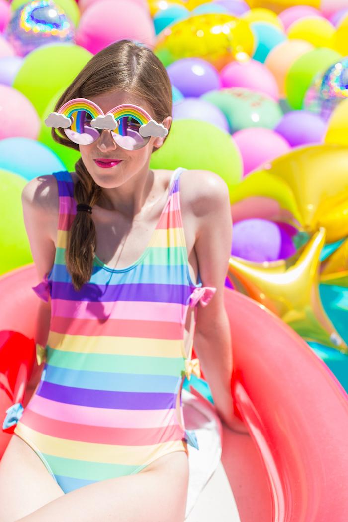 Décoration anniversaire 18 ans, idée deco anniversaire 18 ans, fille, organiser tout, lunettes de soleil arc en ciel diy