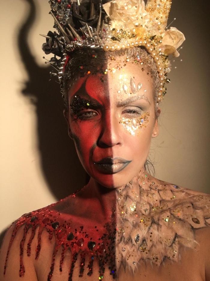 idée de maquillage demon et ange artistique avec paillettes et strass, princesse diablesse avec couronnes de fausses fleurs et perles