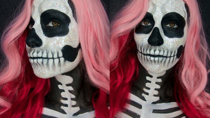 visage crane souriant peint en noir et blanc, jeune fille aux cheveux framboise, peinture sur corps