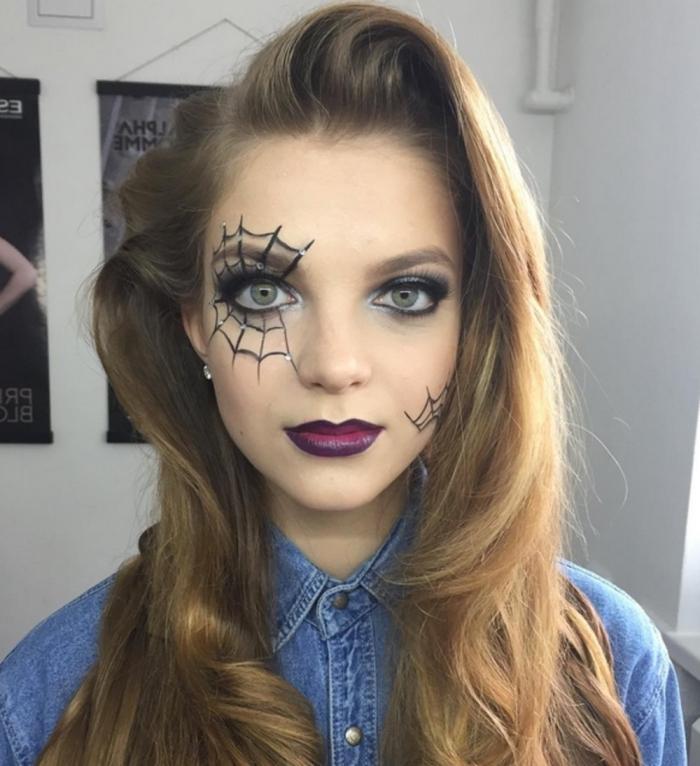 maquillage d'halloween de dernière minute réalisé à l'eye-liner , maquillage des yeux toile d'araignée