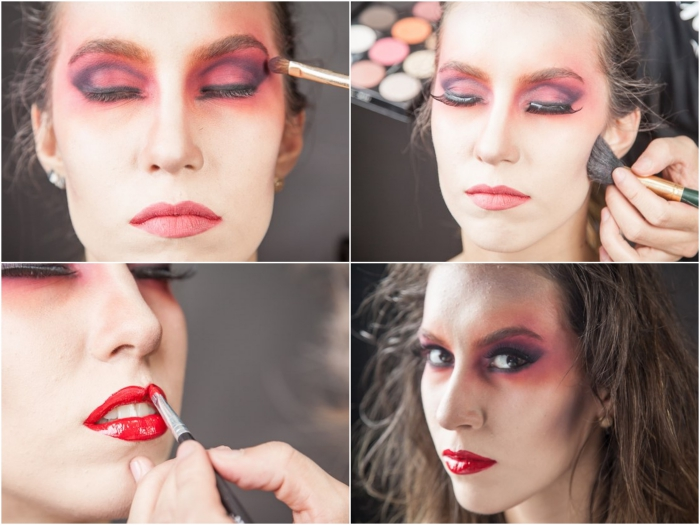 tuto maquillage halloween effet halo rouge autour les yeux et une bouche carmin ultra glamour