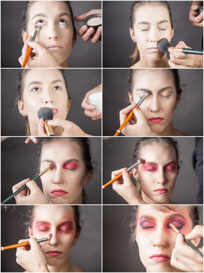 maquillage halloween facile application fard a  paupie re rouge et noir de guisement halloween express
