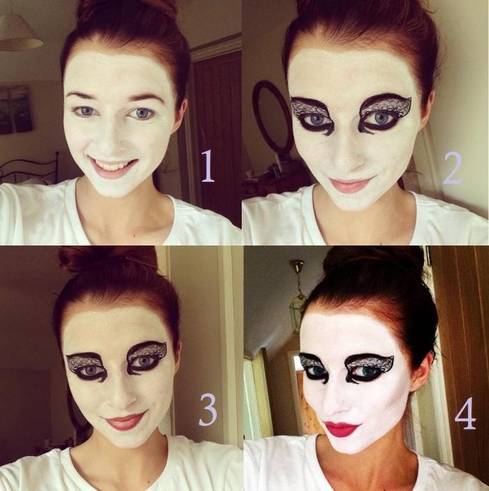 maquillage halloween de dernière minute effet masque cygne noir sur une base blanche