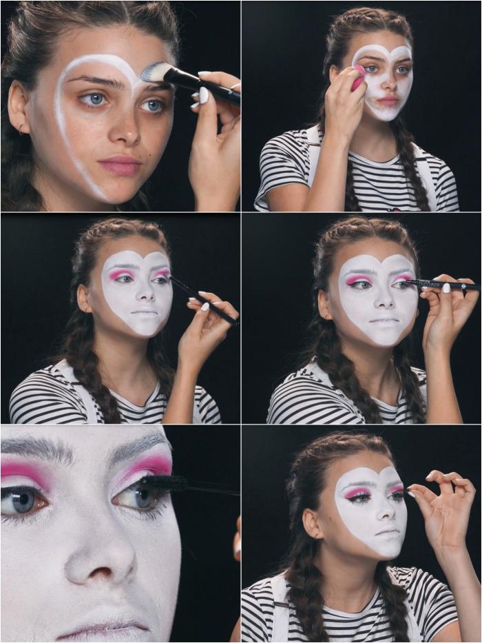 tuto maquillage halloween pour un déguisement de dernière minute, maquillage de mime original au visage en forme de coeur