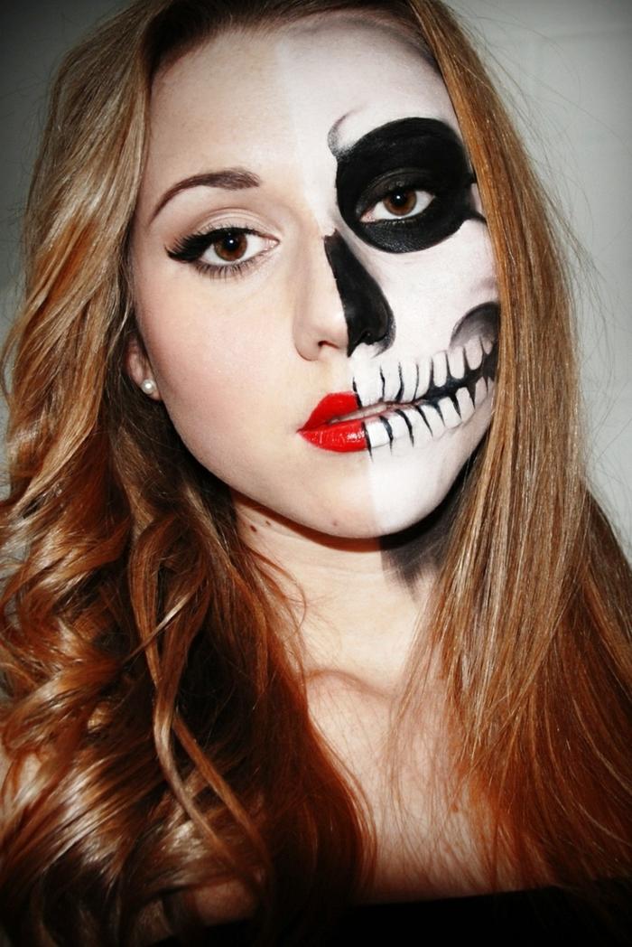 maquillage halloween simple, rouge à lèvres vif, dents monochromes, eye-liner noir