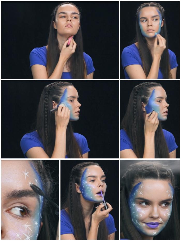 maquillage halloween facile et tendance, tuto pour faire un visage galactique étoilé