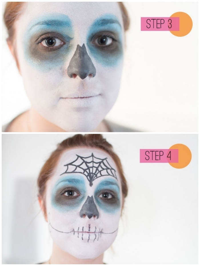 tuto simple pour réaliser un masque halloween jour des morts, un maquillage mexicain femme imitant les masques pour la fête des morts