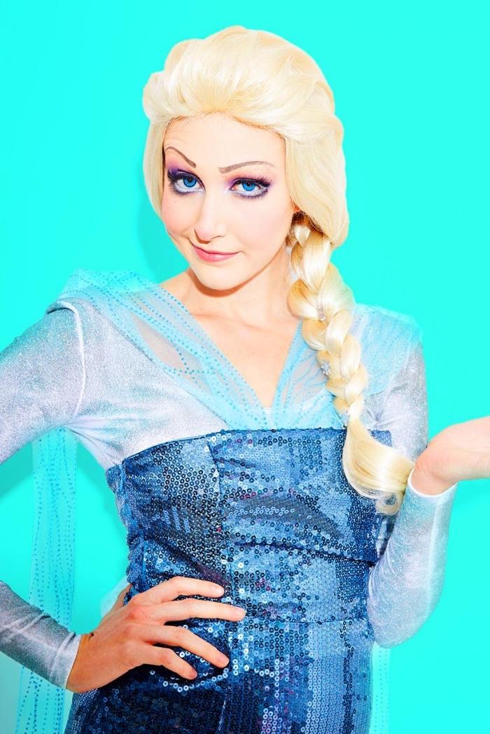 déguisement et maquillage reine des neige facile à recréer, maquillage des yeux romantique et doux dans les tons froids