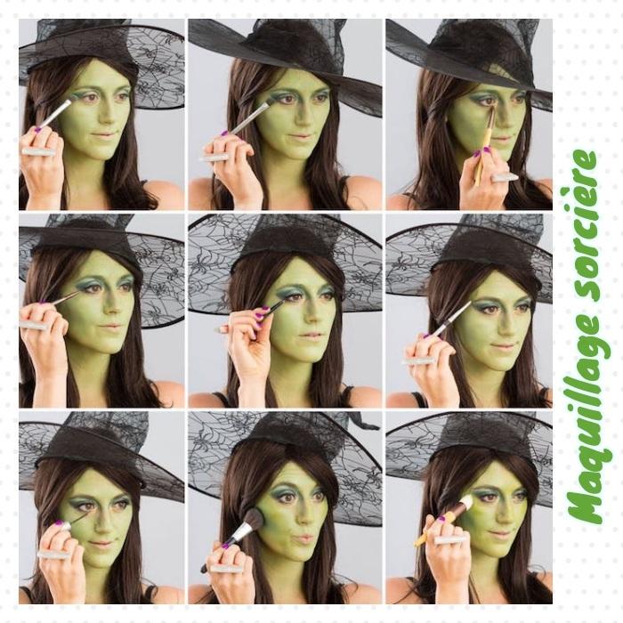 comment faire un maquillage sorcière de halloween simple, visage repeint de couleur verte avec des fards à paupières vertes et contouring émeraude