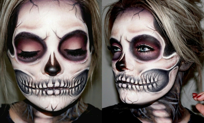 femme au maquillage squelette, lèvres dents terrifiants, eye-liner noir, rose autour des yeux, grands cercles noirs