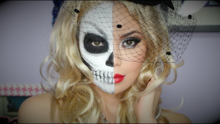 chapeau filet de visage, maquillage demi squelette halloween, rouge à lèvres vif