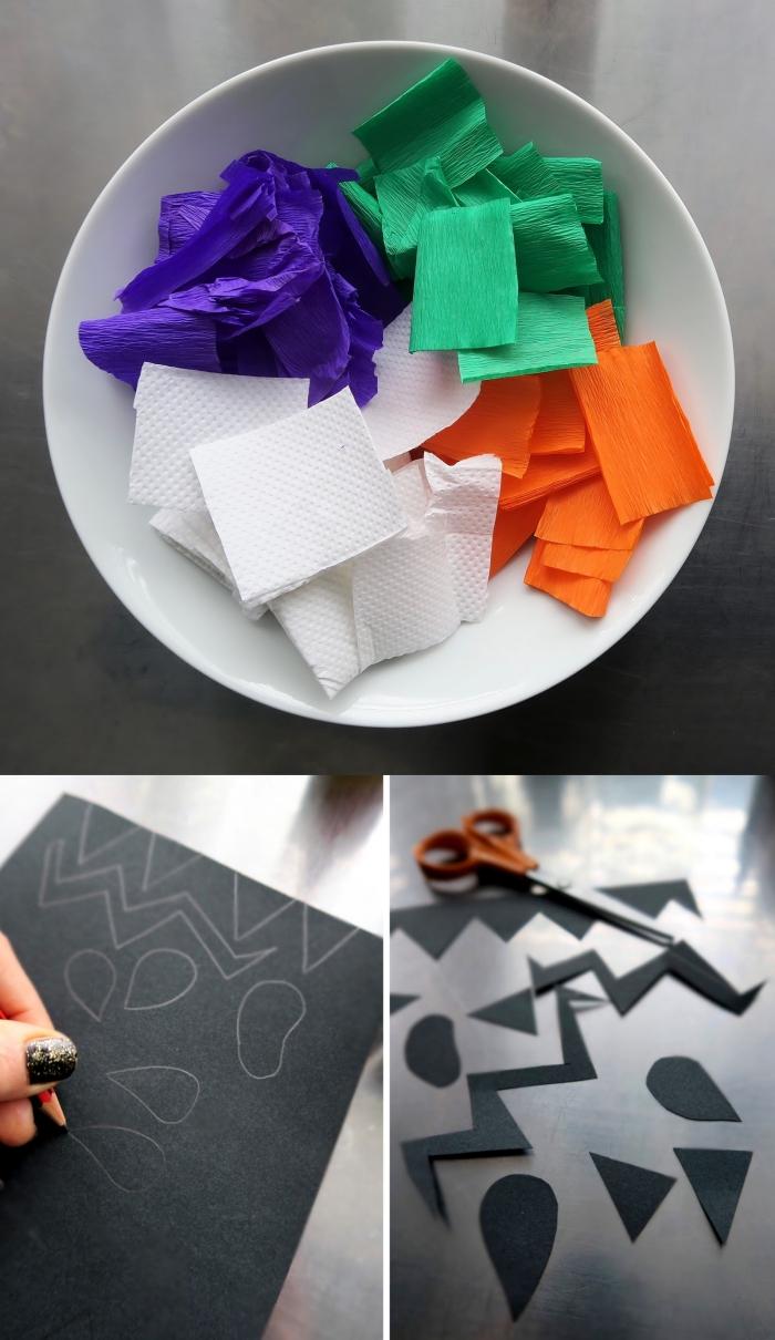 décoration facile des bocaux en verre avec la technique du collage de serviettes en papier pour faire des bocaux lumineux monstres d'halloween, activite manuelle facile et amusant pour faire des bocaux monstres d'halloween