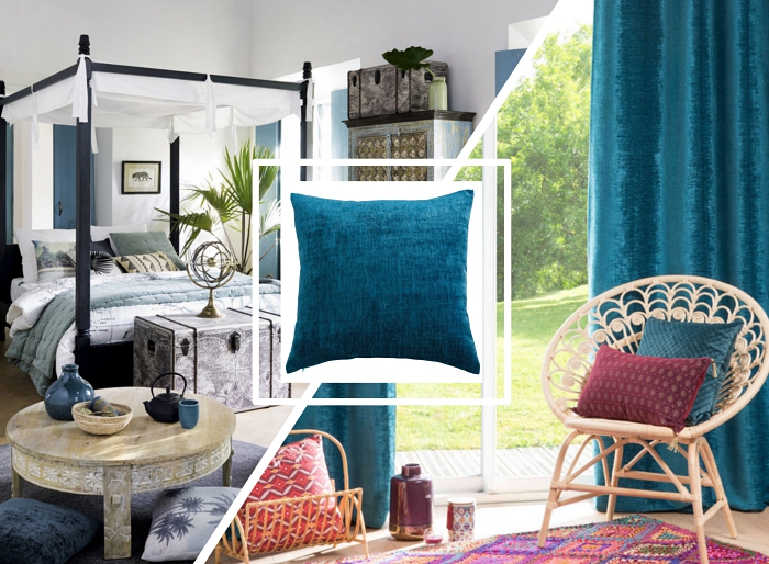 idée de décoration relaxante dans une chambre à coucher blanche décorée avec éléments ethniques et coussins en velours tendance