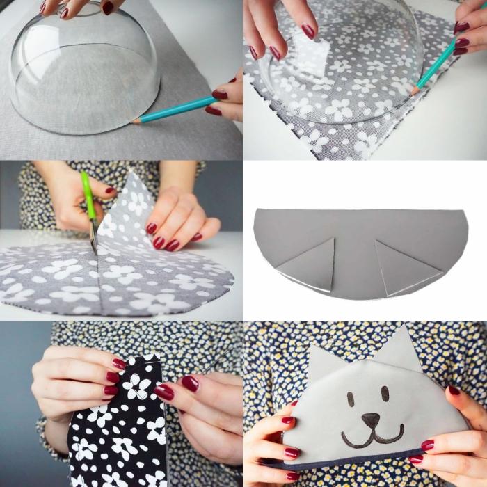 tuto pochette couture facile, comment réaliser une pochette tête de chat en tissu et cuir