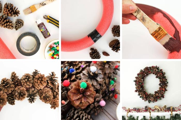 faire un objet de déco de Noel facile avec pommes de pin, modèle de guirlande pomme de pin fait main avec ornement en mini pompons colorés