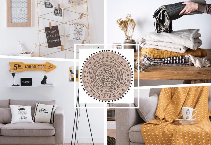 tendance de déco intérieure 2018, design intérieur minimaliste en couleurs neutres avec accents en jaune et orange
