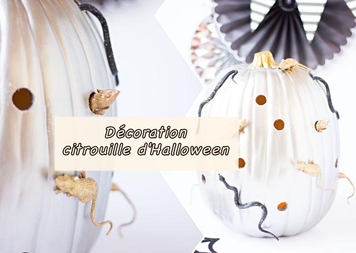 tutoriel facile pour apprendre comment décorer une citrouille moderne en style Halloween avec peinture métallique et figurines effrayantes