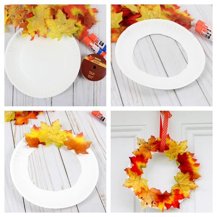 couronne de feuilles mortes sur un cerceau de papier coupé dans une assiette en papier, decoration automne a faire sioi meme facilement