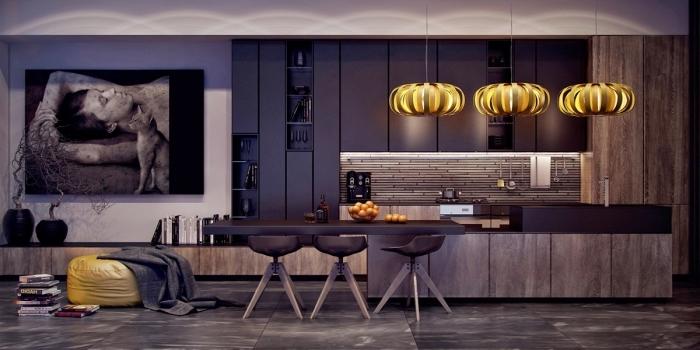 modèle de cuisine équipée avec ilot, style moderne et élégant dans une cuisine foncée avec meubles en noir mate et îlot bicolore