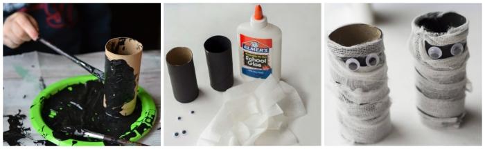 comment faire des momies d'halloween en rouleaux de papier toilette recouverts de gaze, bricolage halloween avec rouleau papier toilette