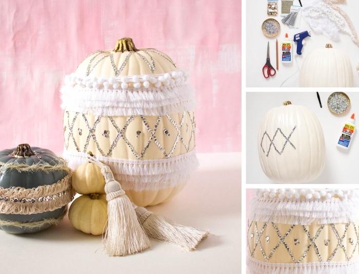 idée DIY pour créer un objet à design ethnique à partir d'une citrouille blanche ornée de ruban tissu et paillettes
