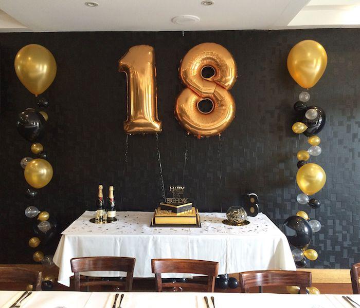 Décoration salle anniversaire, deco anniversaire 18 ans, comment célébrer comme célébrité, table d anniversaire doré et noir