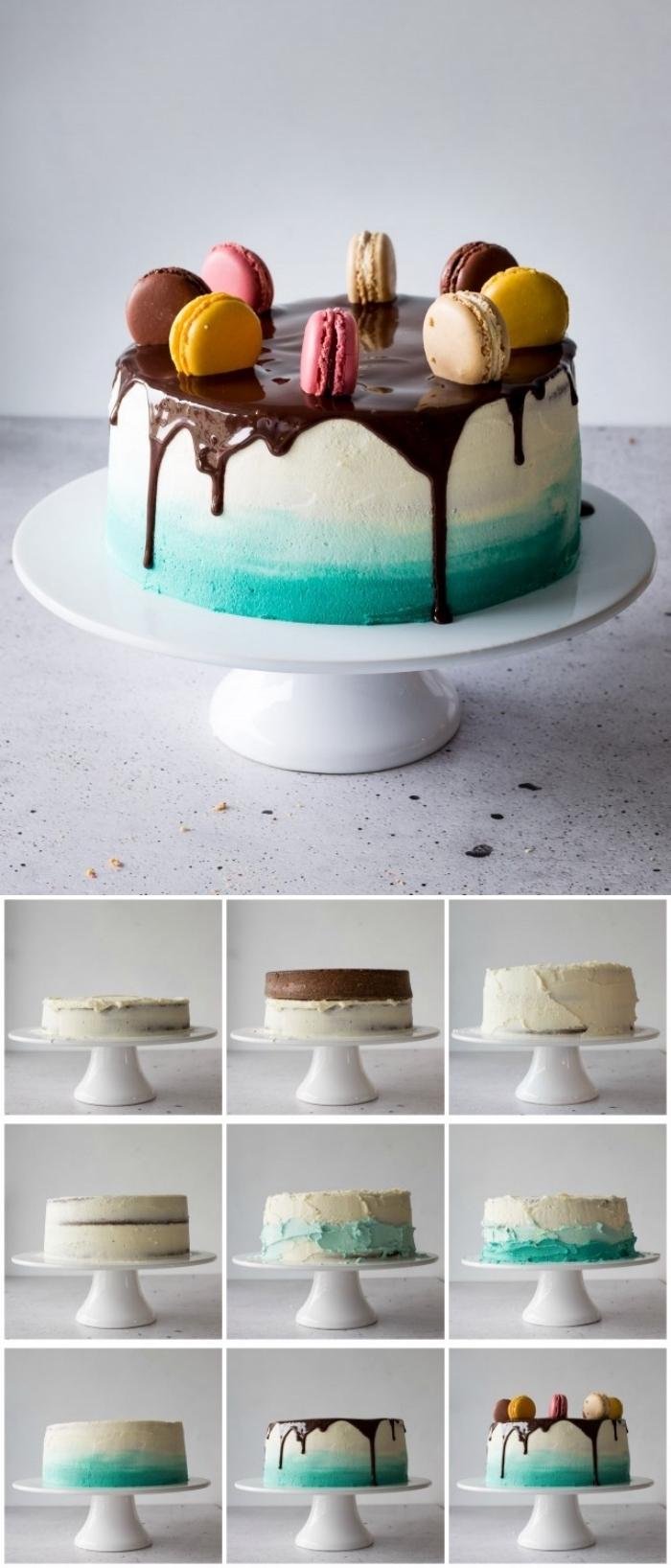 tuto pour décorer facilement un gâteau au nappage gateau en dégradé, ombre cake au glaçage coulant de chocolat