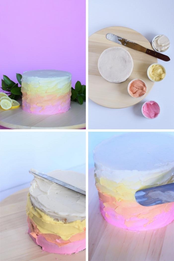 technique simple pour réaliser un nappage gâteau en glaçage en dégradé à la crème au beurre