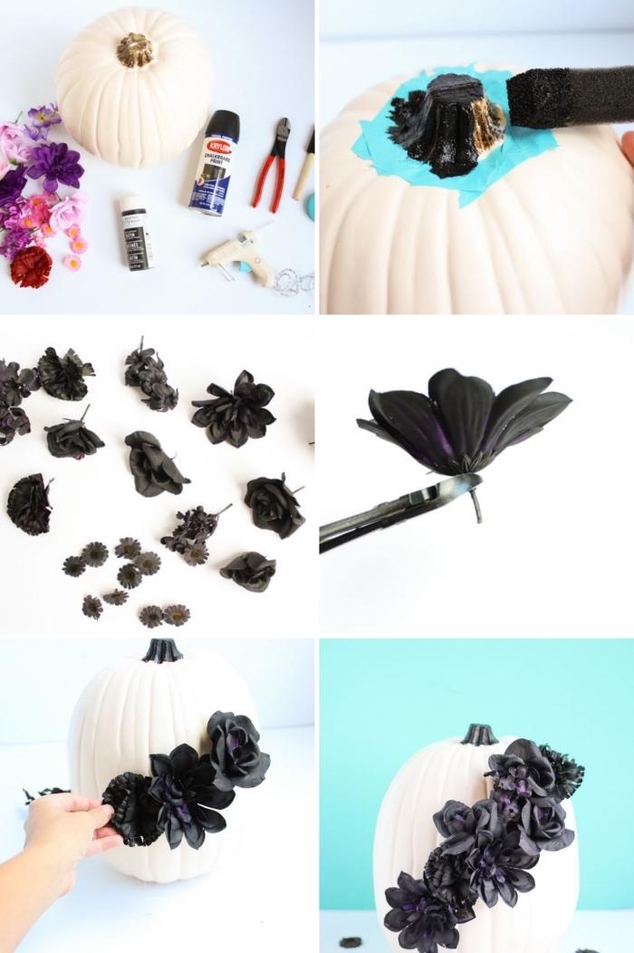 tuto facile pour décorer une citrouille, modele citrouille halloween élégante en peinture blanche et déco avec fleurs noires artificielles