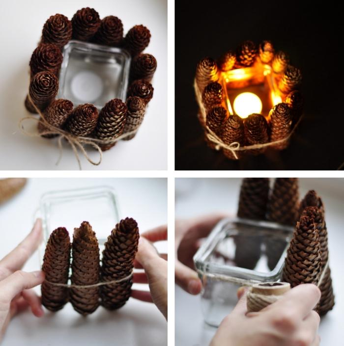 étapes à suivre pour faire un porte-bougie diy en matériaux naturels, modèle de bougeoir fait main avec récipient en verre et pommes de pin