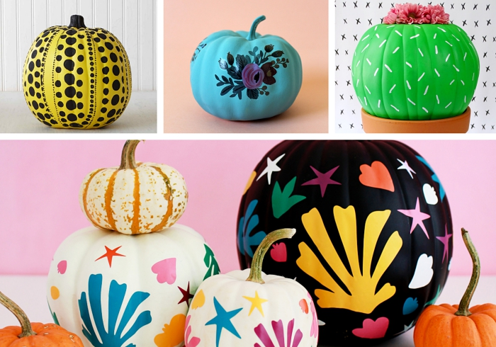comment décorer une citrouille pour la fête d'Halloween ou dans l'esprit automnal, idée citrouille personnalisée avec peinture et dessin facile